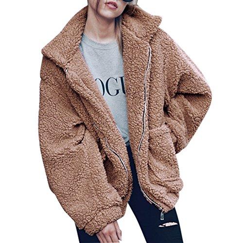 Wolle Pullover Jacke Mantel (LAEMILIA Damen Mantel Jacke Plüsch Winter Stepp Warmen Oversize Boyfriend Outwear Cardigan Lange Ärmel Einfarbig Parka)