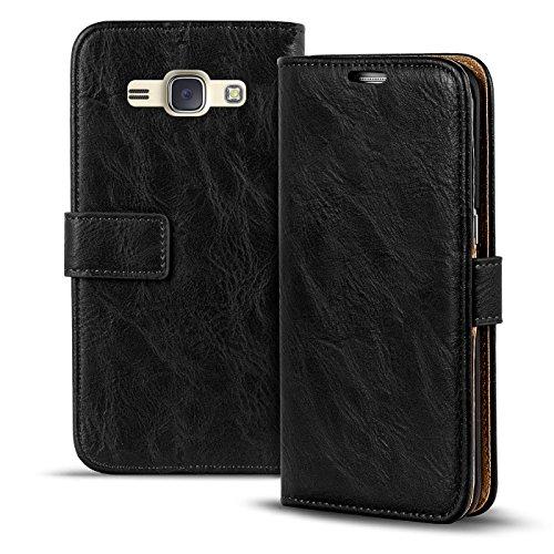 Conie RW30367 Retro Wallet Kompatibel mit Samsung Galaxy J1, Klapphülle Tasche Vintage Leder Design für Galaxy J1 Etui mit Kartenfächer Vintage Schwarz