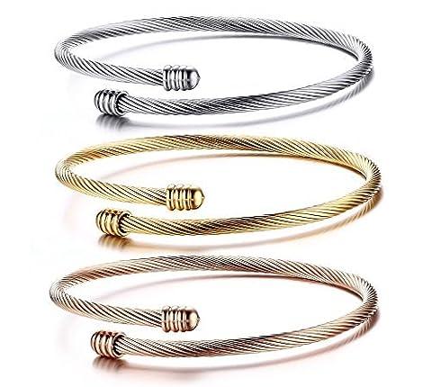 Fil de câble en acier inoxydable Cuff Bracelet, Or, Or Rose, Argent, largeur: 3mm, Lot de 3