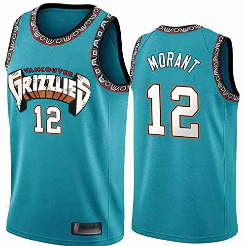 Herren Trikot - Ja Morant # 12 Memphis Grizzlies Basketball Ärmelloses Oberteil, Fan Retro Version T-Shirt, Locker Und Atmungsaktiv,Xxl185~190cm/95~110kg