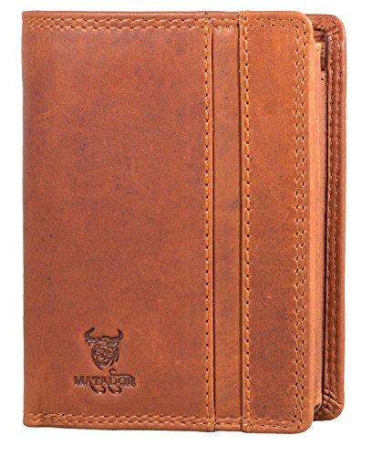 RFID Blocker Geldbörse Leder Portemonnaie Brieftasche Portmonee Braun Viele Verstauungsmöglichkeiten ()
