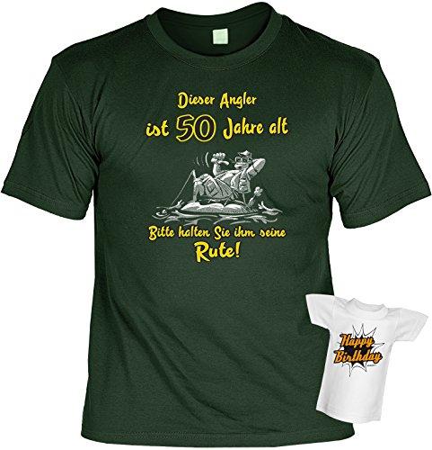 Geburtstag T-Shirt Dieser Angler ist 50 Jahre alt Angel Shirt bedruckt Geschenk Set mit Mini Flaschenshirt