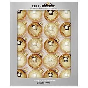 KREBS & SOHN Heitmann Deco 20er Set Glas Christbaumkugeln-Weihnachtsbaum Deko zum Aufhängen-Weihnachtskugeln 5,7 cm-Gold, Elfenbein, (5,7cm Ø Durchmesser)