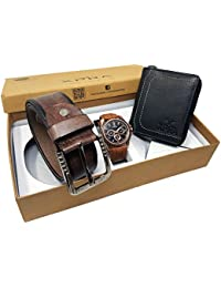 XPRA Analog Watch, Brown PU Leather Belt & Black Leather Wallet For Men/Boys Combo (Pack Of 3) - (WL-3CMB-34)