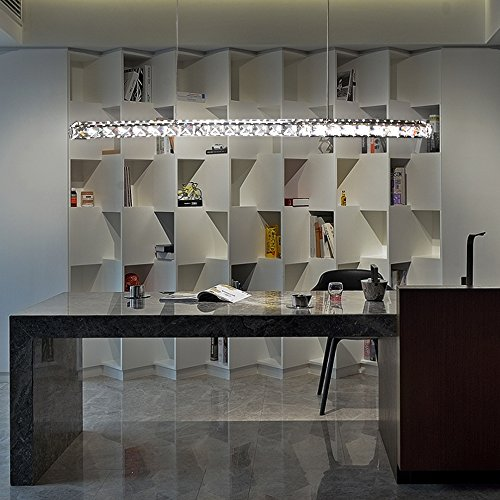 Hengda® LED Pendelleuchte Esszimmer, 24W Dimmbar Hängelampe, mit Fernbedienung, Acryl Kristall, 800*75*1200mm [Energieklasse A++] (Acryl-pendelleuchte)