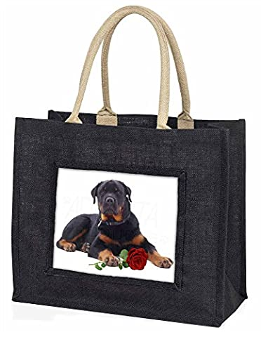 Rottweiler Dog with a Red Rose Large Black Shopping Bag Christmas Present Idea