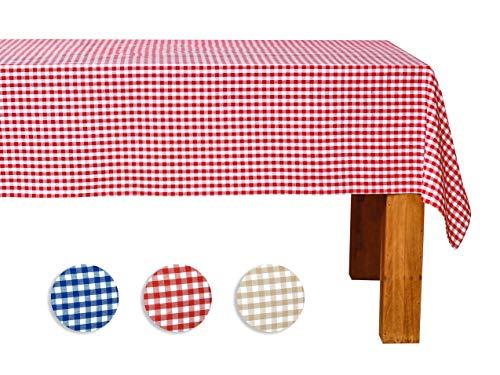 FILU Tischdecke 140 x 240 cm Rot/Weiß kariert (Farbe und Größe wählbar - hochwertig gefertigtes Tischtuch aus 100{37a7a1606f56f4f96e5a8eb38003daee283b47344a8c179d5113347d829b21e2} Baumwolle