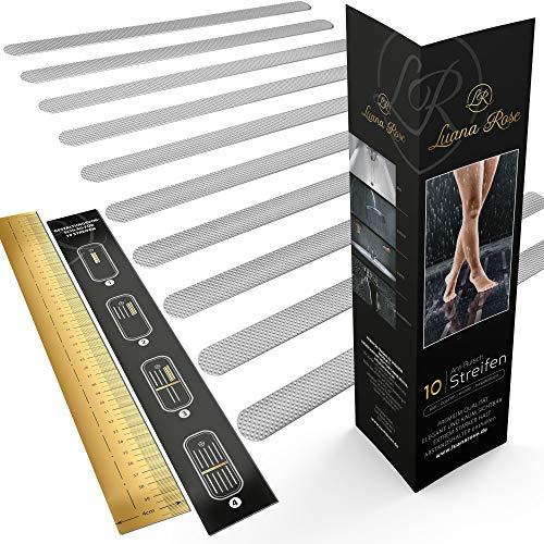 Luana Rose 10x Anti-Rutsch-Streifen Selbstklebend - Premium Treppen Rutschschutz - Badewanneneinlage antirutschband Treppe - Anti Rutsch Streifen Dusche - Duscheinlage & Badewannenmatte