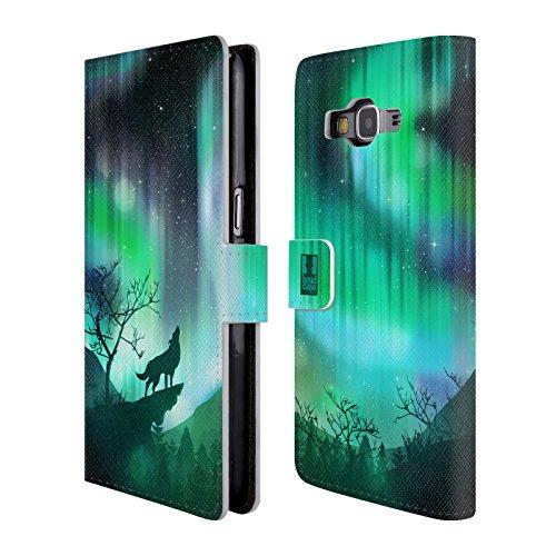 Head Case Designs Heulender Wolf Grün Nordlichter Brieftasche Handyhülle aus Leder für Samsung Galaxy Grand Prime - Grün Ipod Case 4