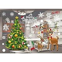 JANLY Autocollants muraux de Noël Salon Noël Santa Claus Snowman Elk Stickers muraux Décoration de fenêtre (Multicolore A)