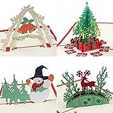Coogam Carte de noël 3D avec enveloppe Drôle Unique Pop Up Carte de voeux pour La Nouvelle Année Vacances Cadeau, Paquet de 4 - Sapin de Noël Bonhomme de Neige Renne et Bell Merci Vous Carte