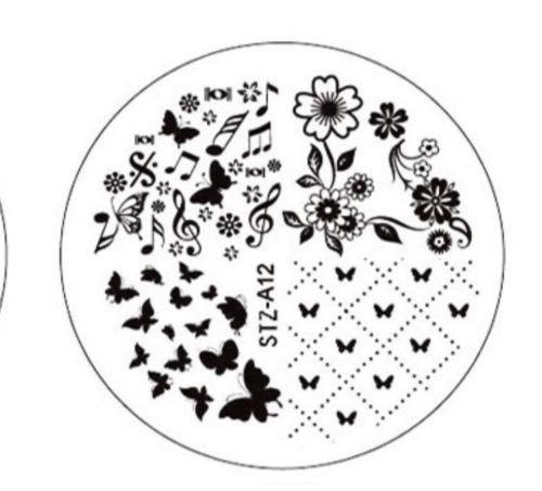 CartoonPrintDesign- Nail Stamping Nagel Schablone Nail Art Nageldesign Schmetterlinge Blumen Motive...