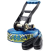Gibbon Slacklines Fun Line, Blue, 15 meters, 12,5m Band + 2,5m Ratchet Tape, beginners, beginner and beginner, for children, adolescents and teens, including ratchet protection and ratchet restraint, 50mm wide, perfect leisure sport