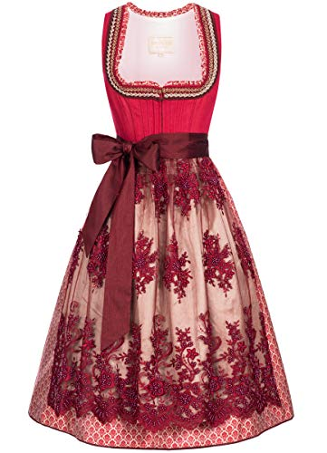 Krüger-Collection Damen Trachten-Mode Midi Dirndl Kathl in Rot traditionell