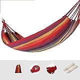 OLT En plein air Hamac simple de toile de coton de camping portatif, capacité de charge de 150kg, voyage, plage, balançoire de jardin (Color : Red)