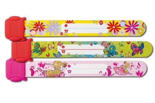 Sigel SY391 Kinder-Sicherheits-Armband Set zum Beschriften, Motive: Ballerina Schmetterling Blumen, 3 Stück, 19.7 cm