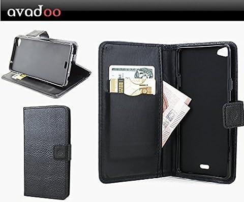 avadoo® Wiko Highway Pure & Pure 4G Flip Case étui portefeuille noir wallet bookstyle cover housse coque de téléphone cellulaire !