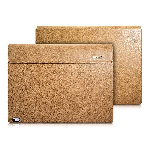 Microsoft Surface Book Ledertasche Hülle, ICARER Vintage Serie echt Leder abnehmbarer Folio Cover für Microsoft Surface Book 13,5 Zoll (Beige Braun)
