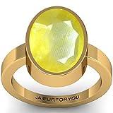 jaipurforyou Certified Pukhraj (Yellow Sapphire) 5.60cts or 6.25 ratti panchdhatu ring