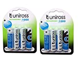 #10: UNIROSS 1.2V 1000 mAh NI-MH Rechargeable Batteries-set of 2 combo pack (8 Battery)