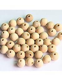 50pcs de Madera Sin Pintar Perlas de Embarcaciones Natural de Tipo 10mm Haciendo Resultados de Bricolaje
