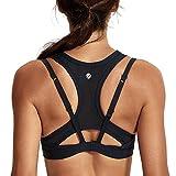 CRZ YOGA Femme Soutien-Gorge de Sport Yoga Fitness Brassière Maintien Moyenne Coussinets Amovibles Noir XL