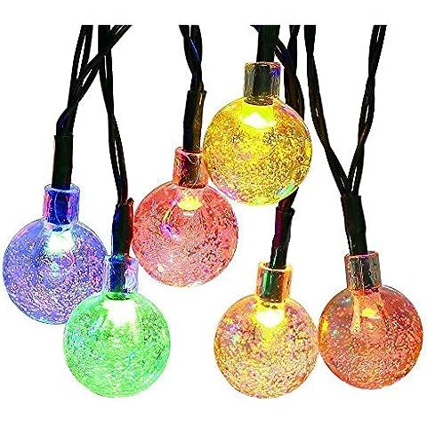 Guirnalda Luces Árbol Navidad 30LED 6.35Mt 4 Colores 2 Modo,Topop Guirnaldas LED Solares Luz de Navidad ColoresImpermeable para Hogar Jardín Interior y Exterior Navidad Boda Cumpleaños Fiesta y Decorar Reja, Patio, Balcón, Ventana
