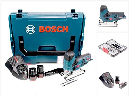 Bosch GST 10,8 V-Li Professional Akku Stichsäge in L-Boxx mit 2 x GBA 10,8 V 2,5 Ah Akku und AL 1130 CV Schnelllader + Stichsägeblätter Set 30 Tlg. in Tough Box Wood / Metal