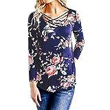 ESAILQ Frauen mit Blumenmuster Long Sleeve Tops Bluse(XXL,Blau)