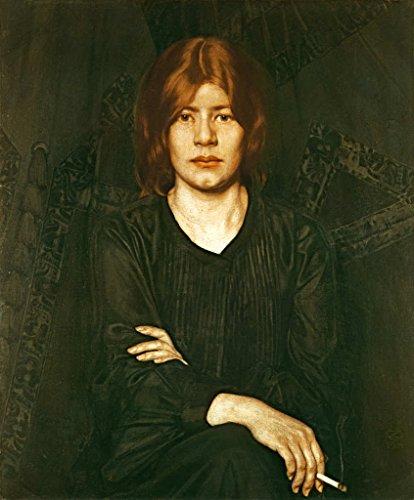 kunst für alle Stampa artistica/Poster: Oskar Zwintscher Bildnis einer Dame mit Zigarette - stampa di alta qualità, immagini, poster artistici, 80x95 cm