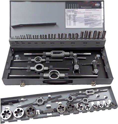 Gewindeschneider-Sortiment in Stahlblechkassette in Handwerks- und Industriequalität, 56-teilig, Metrisches ISO-Regelgewinde nach DIN 13, rechtsschneidend: Satz Metrisch, M 3 - M 20