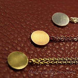 pretty_awesome Halskette Münze Kreis Medallion, Edelstahl gebürstet (Gold)