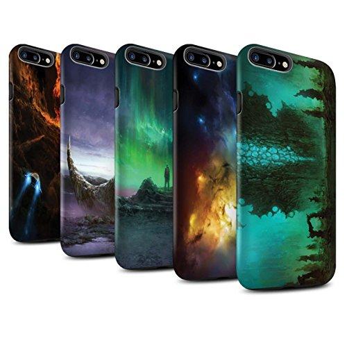 Offiziell Chris Cold Hülle / Matte Harten Stoßfest Case für Apple iPhone 7 Plus / Zerbrochenen Mond Muster / Fremden Welt Kosmos Kollektion Pack 12pcs
