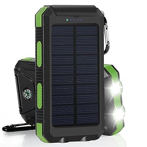 eversource 10000mAh Solar Power Bank, Externe Akku,Solar Ladegerät,hohe kapazität, wasserdicht, stossfest mit 2 LED Solar Taschenlampe (Schwarz-Grün)