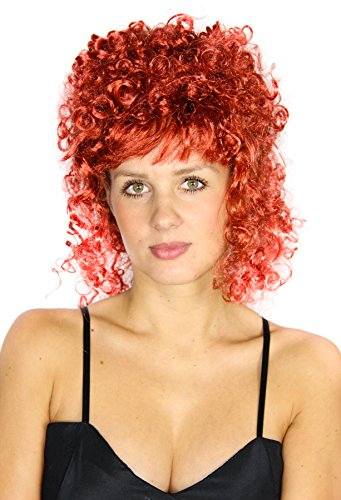 Foxxeo rote gelockte Saloon Girl Damen Langhaar Perücke Langhaarperücke Party Karneval Halloween Fasching Lange Damenperücke lockig Hexenperücke sexy rot Party-Perücke Hexe (Salon Girl Kostüme)