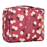 Discoball Floral Print Waterproof Travel Pattern Multi Pouch Cosmetic Makeup Bag Travel Toiletry Organizer(wine red)