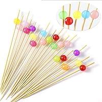 Hifot Palos de cóctel 100 Counts Wooden Toothpicks Cocktail Picks Artículos de Fiesta Nibbles Dedo Comida Frutas - Granos Brillantes de Colores