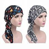 LHKJ 2 Pcs Pañuelos Cabeza Sombrero Turbante para Mujer, Gorro Turbantes para Mujer