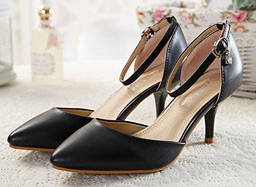 Kitten Spitz Schwarz Sandalen heel Damen Zehe Geschlossene Knöchelriemchen Pumps Aisun 4Xx7wZqP4