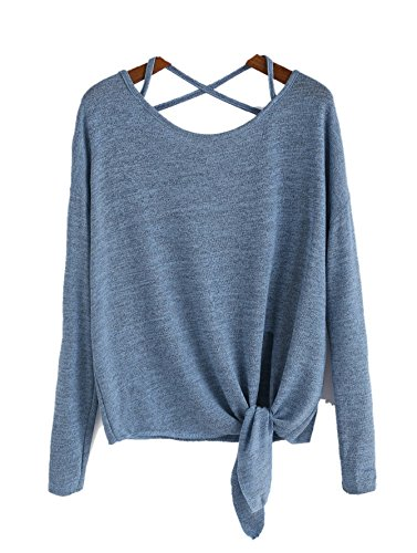 Vitans Women Drop Shoulder Criss Cross Tie Front T-Shirt (Blue, One Size)