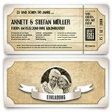 80 x Goldhochzeit Hochzeitseinladungen goldene Hochzeit Einladungskarten individuell - Vintage Brautpaar Weiß