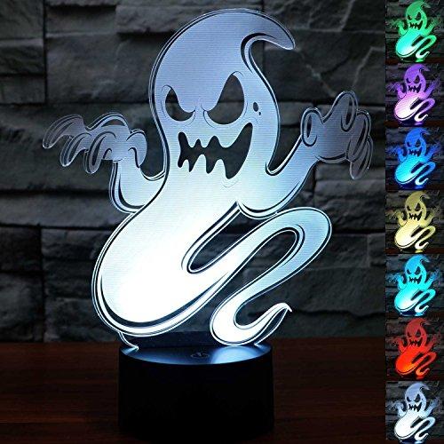 3D Illusion Fantasma Lámpara luces de la noche ajustable 7 colores LED Creative Interruptor táctil estéreo visual atmósfera mesa regalo para Navidad