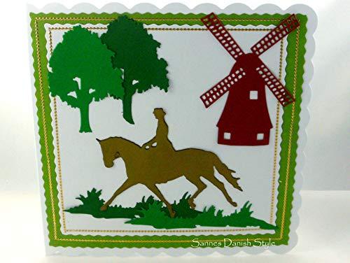 Karte mit Reiterin auf Pferd Bäume, Mühle, ca. 15 x 15 cm -