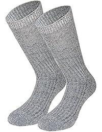 Tobeni 5 Paires de Chaussettes Hiver Norvegien avec Semelle Eponge pour Femme et Homme Coleur Gris Taille 43-46