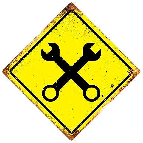 WTF | Clé X Cross | Diamant plaque murale en métal Art | avertissement pièce Small 15x15cm