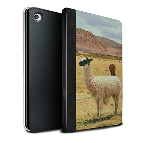 Stuff4® PU-Leder Hülle/Case/Brieftasche für Apple iPad Mini 4 Tablet/Peru Wildtiere Muster/Südamerika Alpaka Kollektion