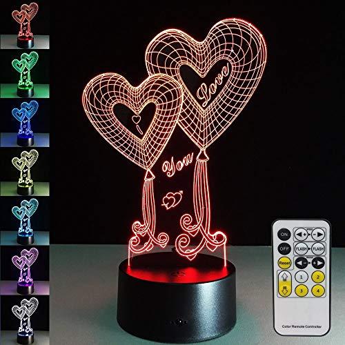 Luci notturne come regalo di San Valentino s 7 colori cambiano Telecomando 3D a LED Tocca luce notturna per bambini accanto alla nave della lampada