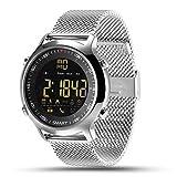 Lemumu HHY Ex18 Smart Watch Bracelet en acier bracelet cadran lumineux Push News Chronomètre professionnel 50 mètres Super imperméable,Silver