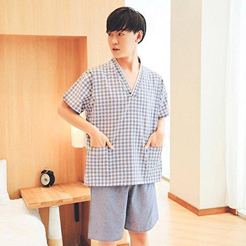 Mangeoo 100% Pure Cotton Lovers Sweat Steamed Clothes, Men's Cotton Bathrobe, Women's Nano Health Beauty, Foot Bath, Home Clothes, Pajamas,XXL,Light Blue Male Womens Nano