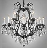 Forgé lustre en cristal de fer lustres suspendus au plafond Lampe Fixture 230V H 76,20 cm x 71,10 cm W...